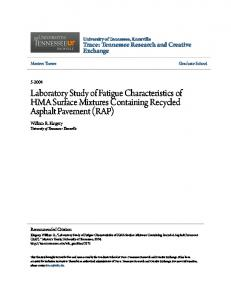 Laboratory Study of Fatigue Characteristics of HMA Surface Mixtures Containing Recycled Asphalt Pavement (RAP)