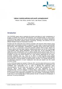Labour market policies and youth unemployment