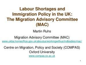 Labour Shortages and Immigration Policy in the UK: The Migration Advisory Committee (MAC)