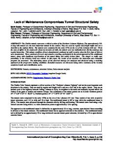 Lack of Maintenance Compromises Tunnel Structural Safety