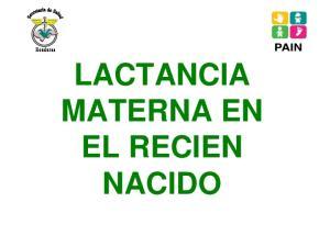 LACTANCIA MATERNA EN EL RECIEN NACIDO