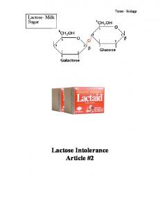 Lactose- Milk Sugar. Turner - Biology. Lactose Intolerance Article #2