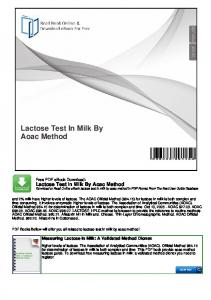 Lactose Test In Milk By Aoac Method