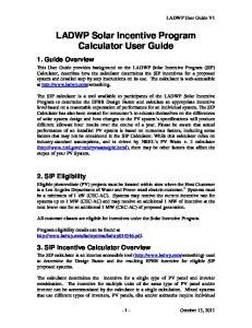 LADWP Solar Incentive Program Calculator User Guide