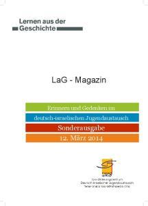 LaG - Magazin. Erinnern und Gedenken im deutsch-israelischen Jugendaustausch
