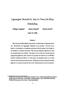 Lagrangian Bounds for Just-In-Time Job-Shop. Scheduling