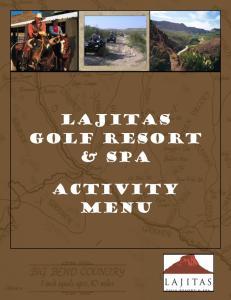 LAJITAS Golf RESORT & SPA. Activity menu