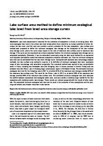 Lake surface area method to define minimum ecological lake level from level area storage curves