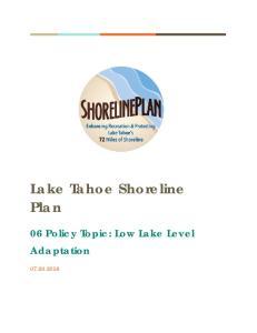 Lake Tahoe Shoreline Plan. 06 Policy Topic: Low Lake Level Adaptation