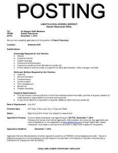 LAKOTA LOCAL SCHOOL DISTRICT Human Resources Office