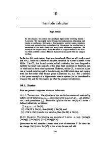 Lambda calculus. Inge Bethke