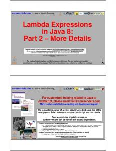 Lambda Expressions in Java 8: Part 2 More Details
