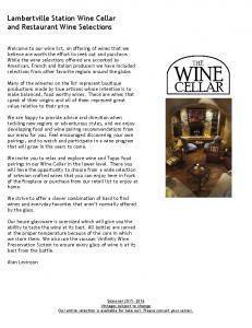 Lambertville Station Wine Cellar and Restaurant Wine Selections