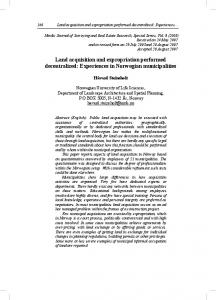 Land acquisition and expropriation performed decentralized: Experiences in Norwegian municipalities