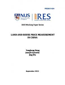 LAND AND HOUSE PRICE MEASUREMENT IN CHINA