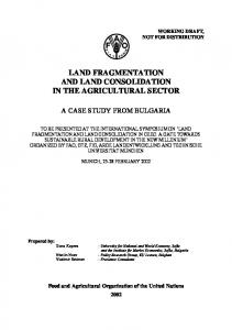 LAND FRAGMENTATION AND LAND CONSOLIDATION IN THE AGRICULTURAL SECTOR