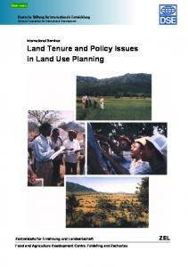 Land Tenure and Policy Issues in Land Use Planning