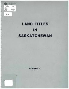 LAND TITLES IN SASKATCHEWAN