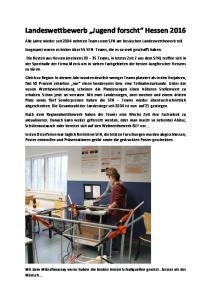 Landeswettbewerb Jugend forscht Hessen 2016