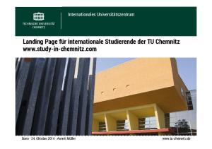 Landing Page für internationale Studierende der TU Chemnitz