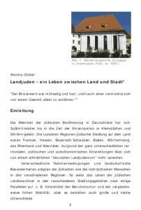 Landjuden - ein Leben zwischen Land und Stadt*