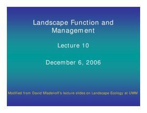 Landscape Function and Management