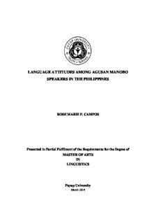LANGUAGE ATTITUDES AMONG AGUSAN MANOBO SPEAKERS IN THE PHILIPPINES