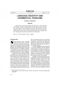 LANGUAGE CREATIVITY AND GRAMMATICAL PROBLEMS