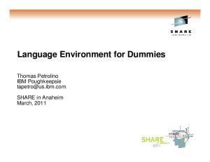 Language Environment for Dummies