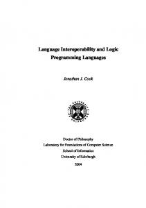 Language Interoperability and Logic Programming Languages