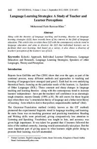 Language Learning Strategies: A Study of Teacher and Learner Perceptions