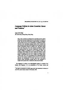 Language Policies in Asian Countries: Issues and Tensions