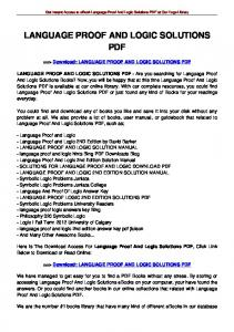 LANGUAGE PROOF AND LOGIC SOLUTIONS PDF
