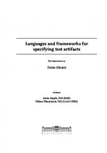 Languages and frameworks for specifying test artifacts