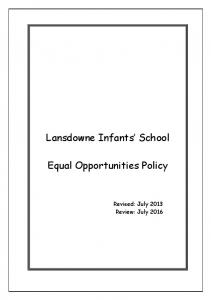Lansdowne Infants School. Equal Opportunities Policy