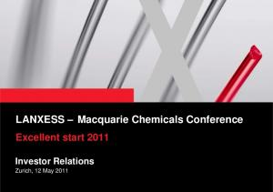 LANXESS Macquarie Chemicals Conference