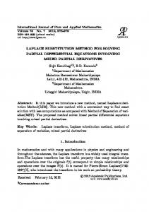 LAPLACE SUBSTITUTION METHOD FOR SOLVING PARTIAL DIFFERENTIAL EQUATIONS INVOLVING MIXED PARTIAL DERIVATIVES