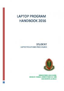 LAPTOP PROGRAM HANDBOOK 2016