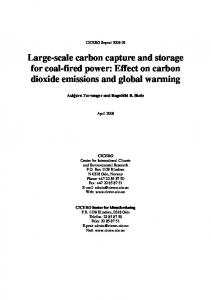 Large-scale carbon capture and storage for coal-fired power: Effect on carbon dioxide emissions and global warming