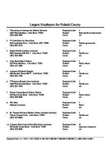 Largest Employers for Pulaski County