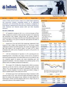 LARSEN & TOUBRO LTD BUY. September 23, Investor s Rationale