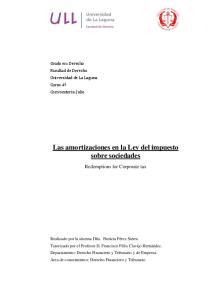 Las amortizaciones en la Ley del impuesto sobre sociedades