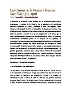 Las Causas de la Primera Guerra Mundial,