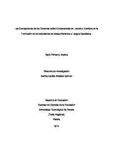 Las Concepciones de los Docentes sobre Competencias en Lectura y Escritura en la