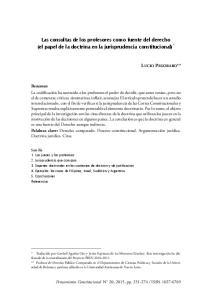 Las consultas de los profesores como fuente del derecho (el papel de la doctrina en la jurisprudencia constitucional) *