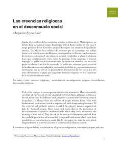 Las creencias religiosas en el desconsuelo social