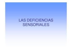 LAS DEFICIENCIAS SENSORIALES