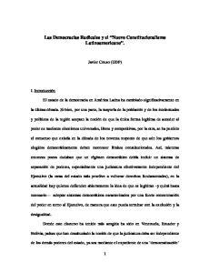 Las Democracias Radicales y el Nuevo Constitucionalismo Latinoamericano