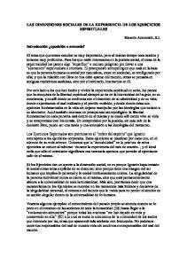 LAS DIMENSIONES SOCIALES DE LA EXPERIENCIA DE LOS EJERCICIOS ESPIRITUALES