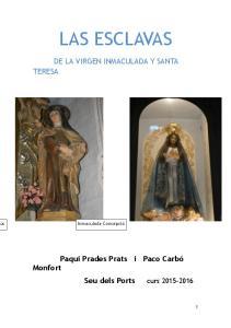 LAS ESCLAVAS DE LA VIRGEN INMACULADA Y SANTA TERESA